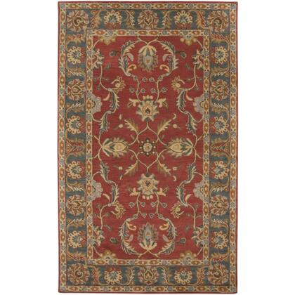 Caesar CAE-1007 9' x 12' Rectangle Traditional Rug in Rust  Charcoal  Mustard  Taupe  Dark Brown  Burnt