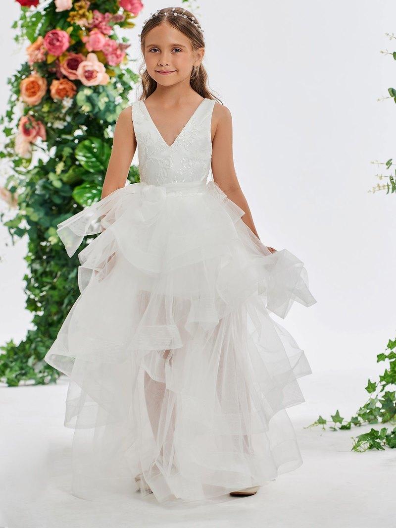 Ericdress Sequined Lace V-Neck Flower Girl Dress