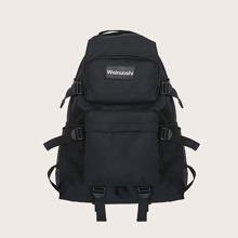 Pocket Front Letter Patch Backpack