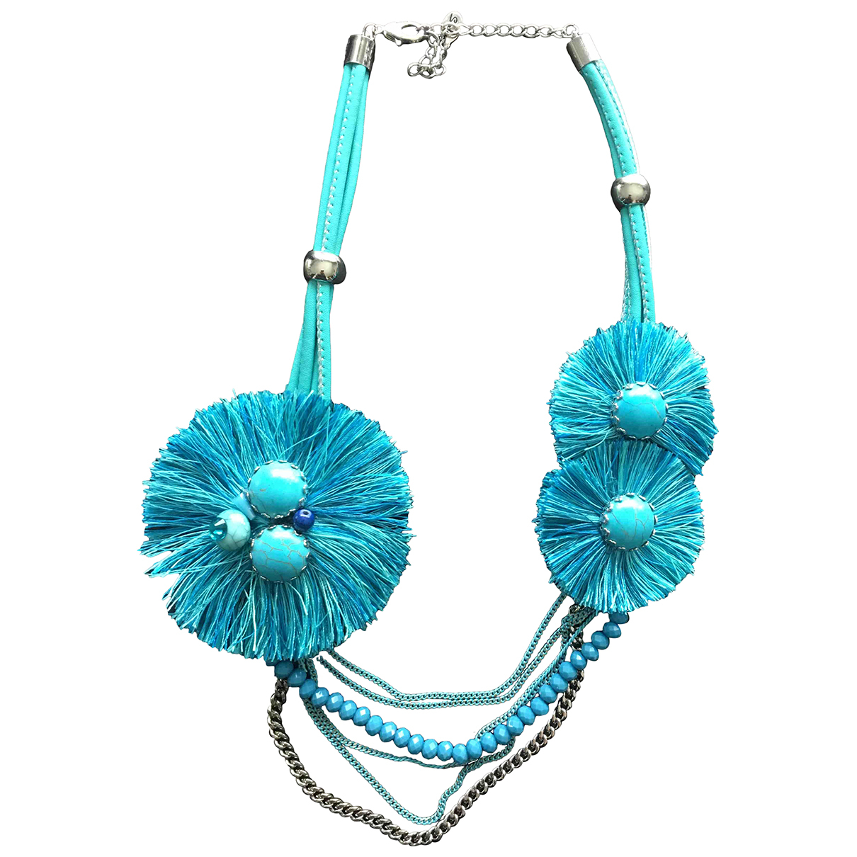 Non Signé / Unsigned N Turquoise Leather necklace for Women N
