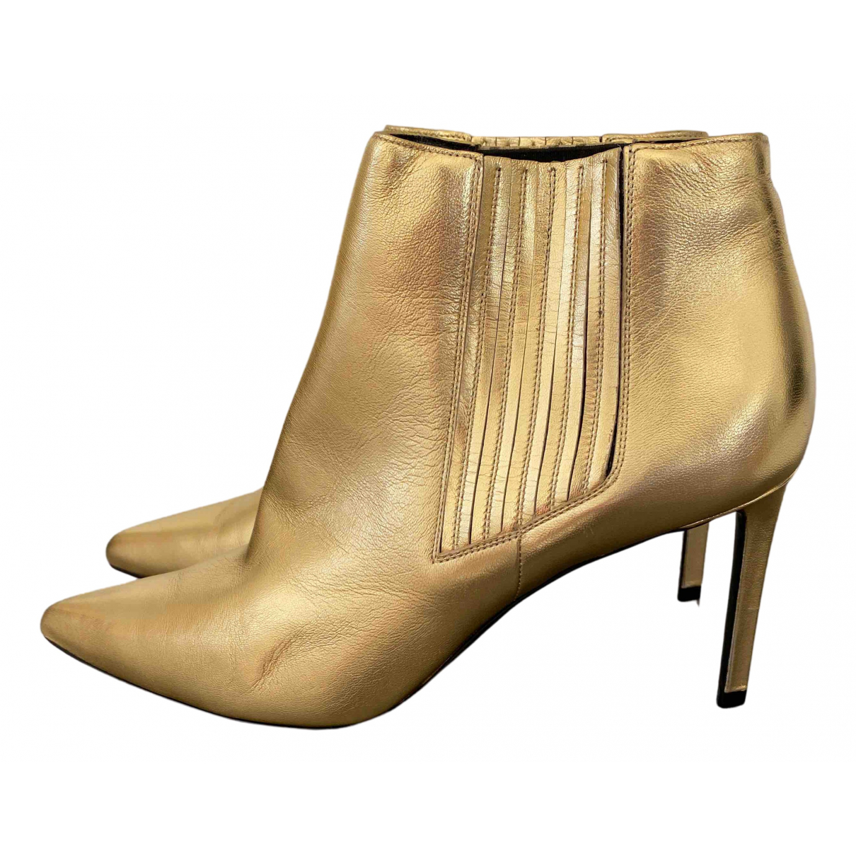Celine Sharp Gold Leather Ankle boots for Women 40 EU