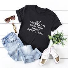 Camisetas de Tallas grandes Frase Negro Casual