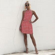Allover Print Sleeveless Halter Dress