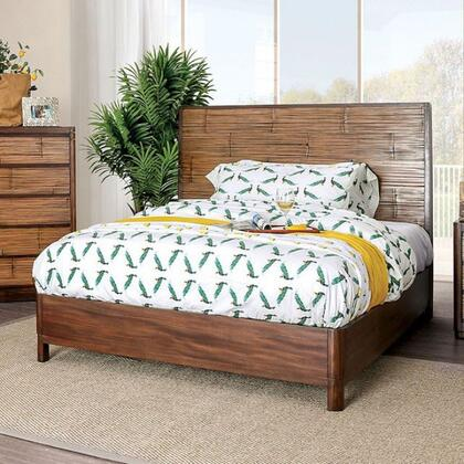 Covilha Collection CM7522CK-BED California King Size Bed With Sturdy Wood Construction  Panel Headboard In Antique