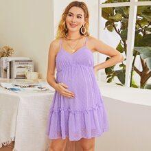 Cami Kleid mit Rueschenbesatz und Punkten Muster