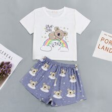 Slogan & Cartoon Graphic PJ Set