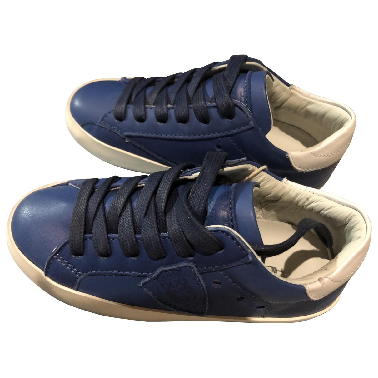 Philippe Model - Baskets   pour enfant en cuir - bleu