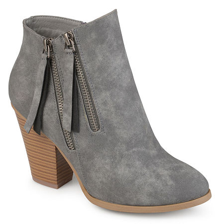 Journee Collection Womens Vally Booties Stacked Heel, 6 Medium, Gray