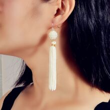 Pendientes largos con fleco con perla artificial