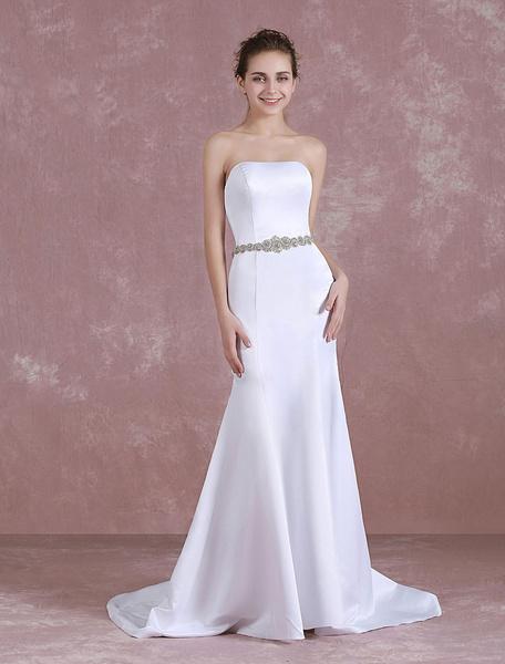 Milanoo Vestido de novia de sirena con faja Con cola cintura natural con escote palabra de honor Cremallera sin mangas de silueta sirena