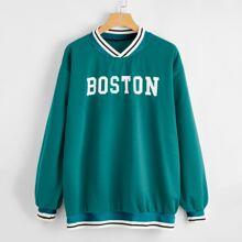 Baseball Collar Letter Graphic Sweatshirt