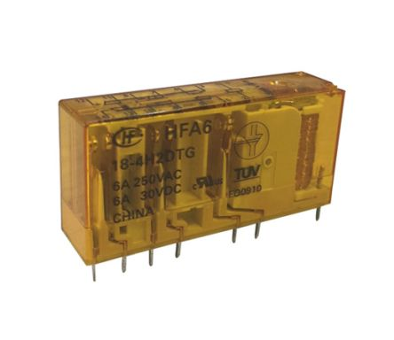 Hongfa Europe GMBH , 24V dc Coil Non-Latching Relay, 6A Switching Current Surface Mount Single Pole (20)