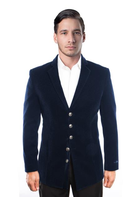 Men's 5 Button Velvet Single Breasted Notch Lapel Blazer Jacket  Blue