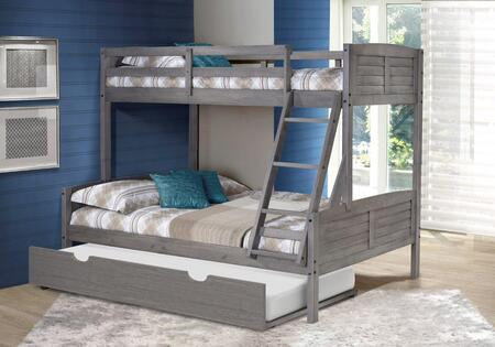 2012-TFAG_503-AG Twin/Full Louver Bunk Bed With Twin Trundle Bed in Antique Grey