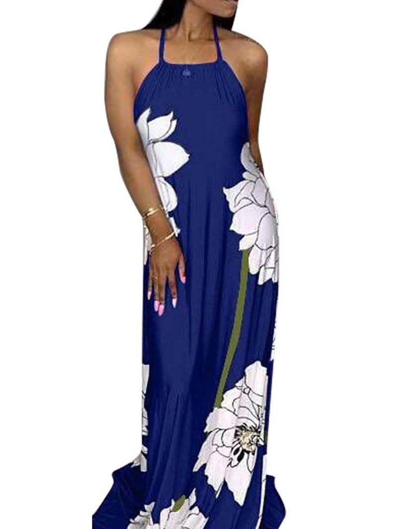 Ericdress Floor-Length Sleeveless Summer Lace-Up Floral Maxi Dress