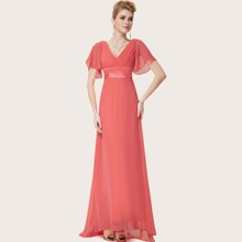 Flutter Sleeve Ruched Bodice Empire Waist Prom Dress