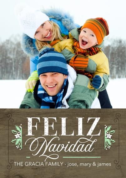 Tarjetas de Navidad Flat Glossy Photo Paper Cards with Envelopes, 5x7, Card & Stationery -Feliz Navidad Sprigs