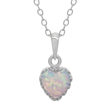 Simulated Opal Sterling Silver Pendant Necklace, One Size , No Color Family