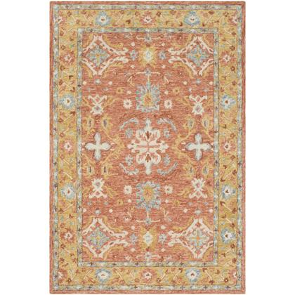 Panipat PNP-2305 8 x 10 Rectangle Traditional Rug in Camel  Dark Brown  Olive  Teal  Ice Blue