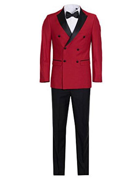 Mens Slim Fit Double breasted Red and Black Tuxedo Flat Front Pants