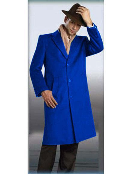 Mens Authentic AlbertoNardoni Brand Full Length Coat Topcoat RoyalBlue
