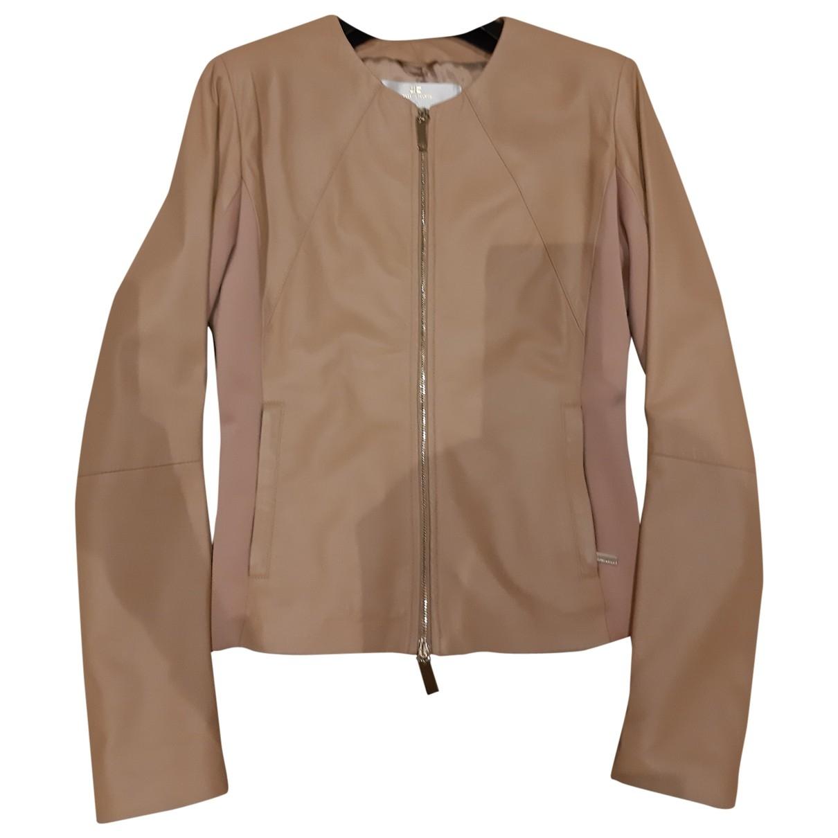 Elisabetta Franchi \N Beige Leather Leather jacket for Women 42 IT