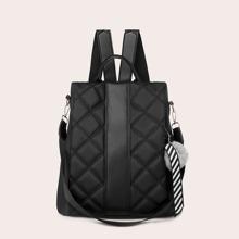 Gesteppter Rucksack mit Pompons Dekor