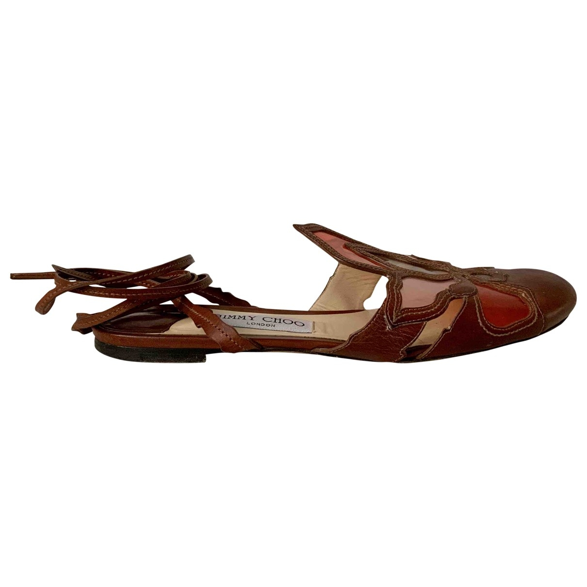 Jimmy Choo \N Brown Patent leather Flats for Women 39 EU