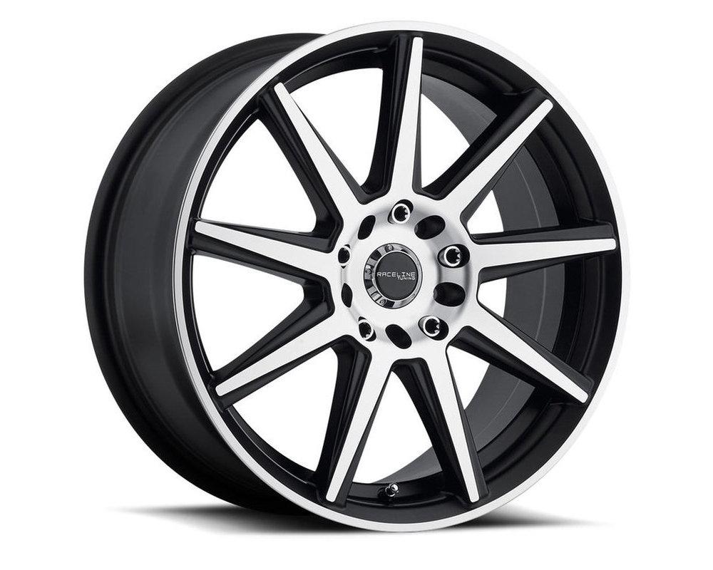 Raceline 144M Storm Gloss Black w/ Machined Face Wheel 17X7.5 5X112|5X120 40mm