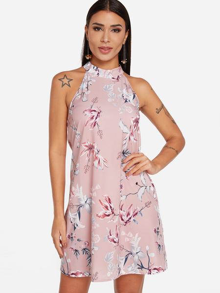 Yoins Pink Random Floral Print Lace Insert Mini Dress
