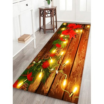 Christmas Light Wooden Printed Floor Mat