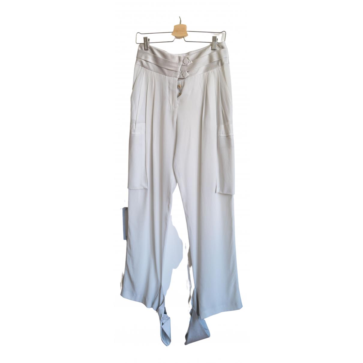 Iceberg \N Grey Silk Trousers for Women 40 IT