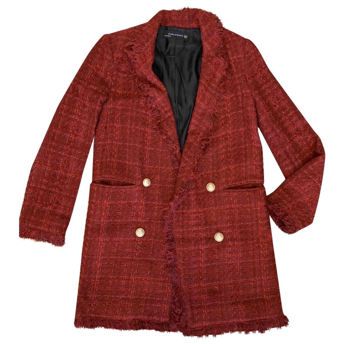 Zara - Manteau   pour femme en coton - bordeaux