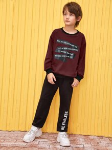 Boys Slogan Graphic Drop Shoulder Pullover