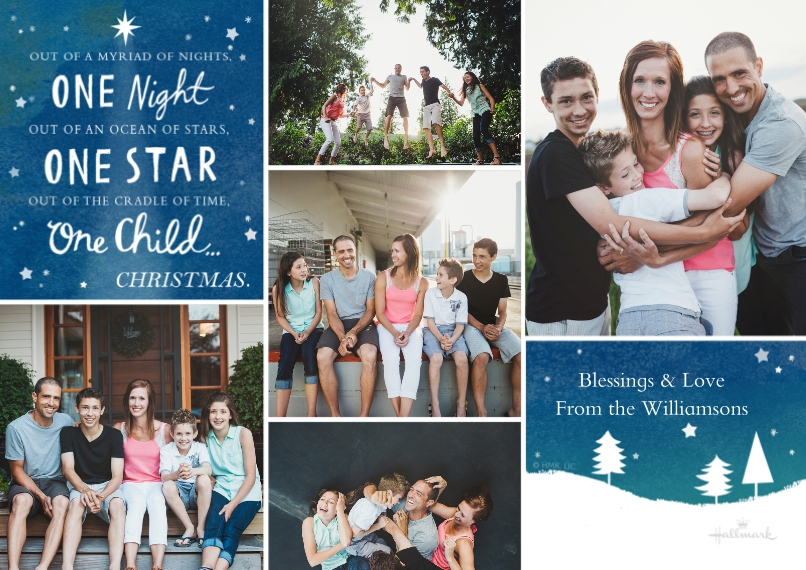 Religious Christmas Cards Flat Glossy Photo Paper Cards with Envelopes, 5x7, Card & Stationery -One Night One Star