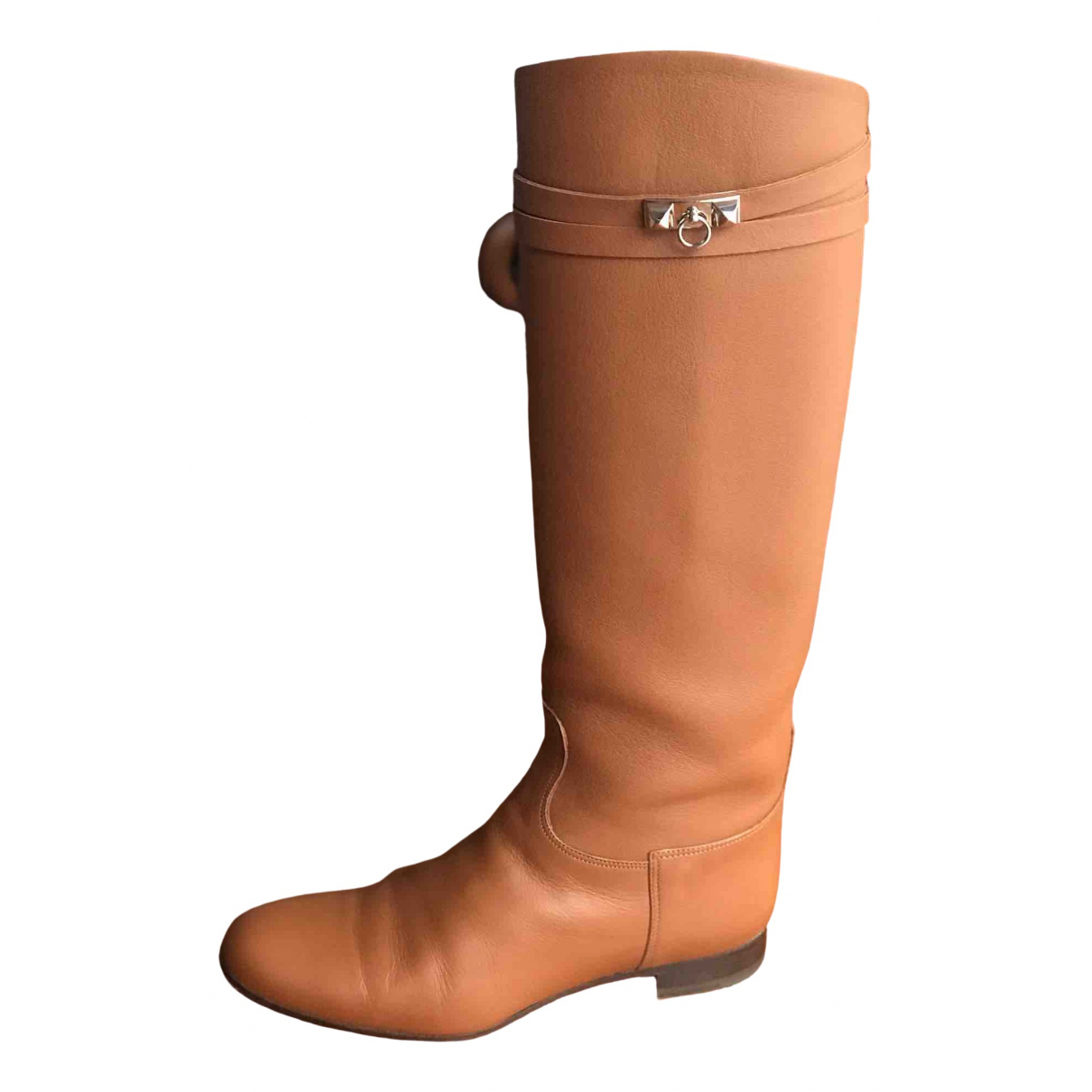 Hermès Jumping Brown Leather Boots for Women 37 EU