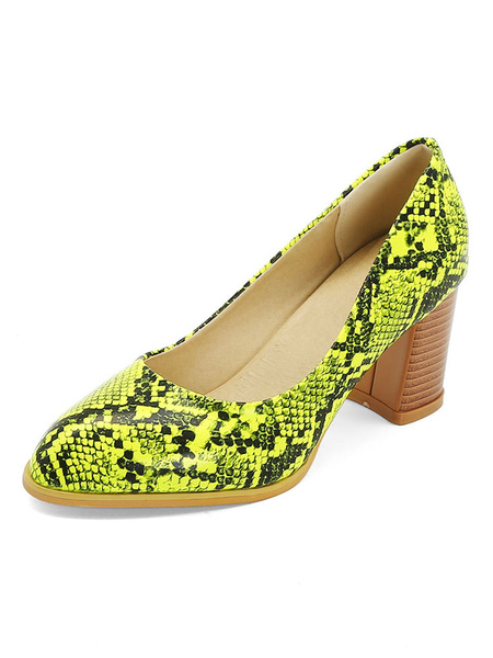 Milanoo Zapatos de tacon medio con estampado de serpiente Zapatos de tacon de bloque Zapatos de talla grande para mujer