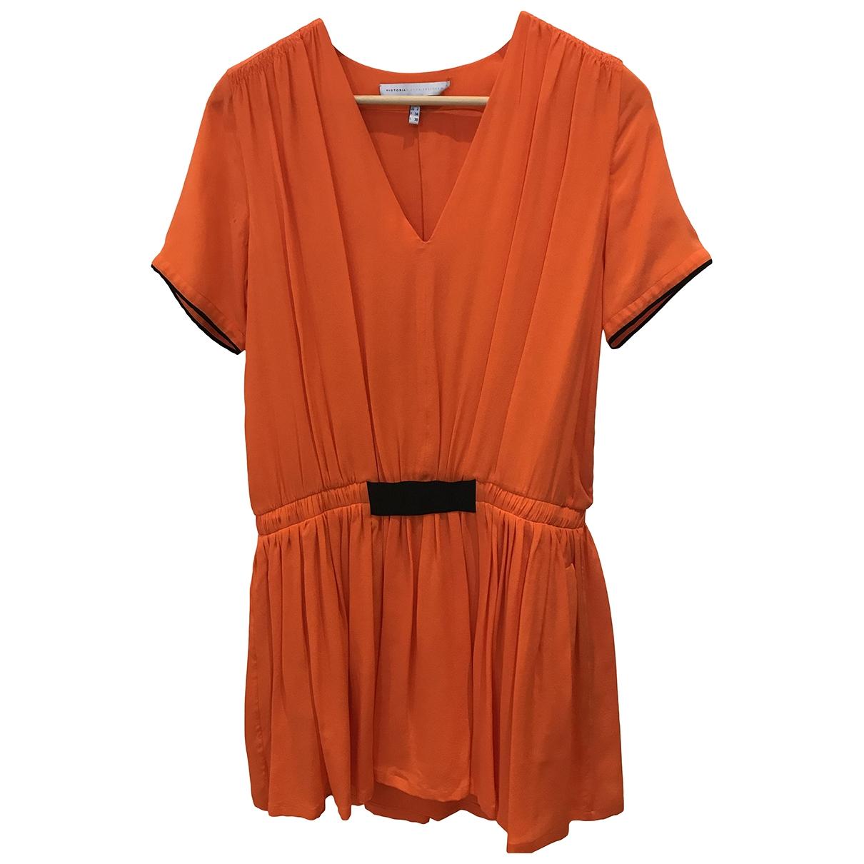 Victoria, Victoria Beckham \N Kleid in  Orange Seide