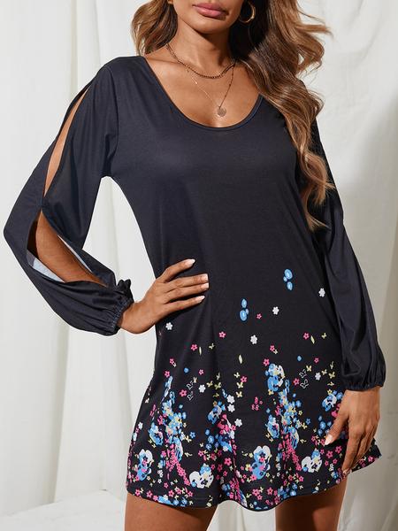 YOINS Black Floral Print Cold Shoulder Side Slit Long Sleeves Dress