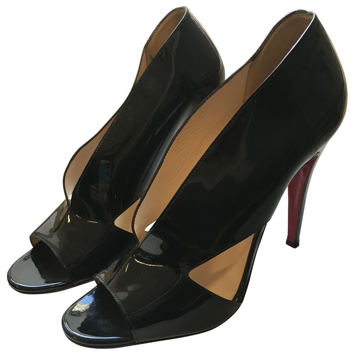 Christian Louboutin - Sandales   pour femme en cuir verni - noir