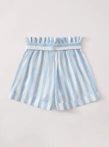 Girls Paperbag Waist Self Belt Striped Shorts