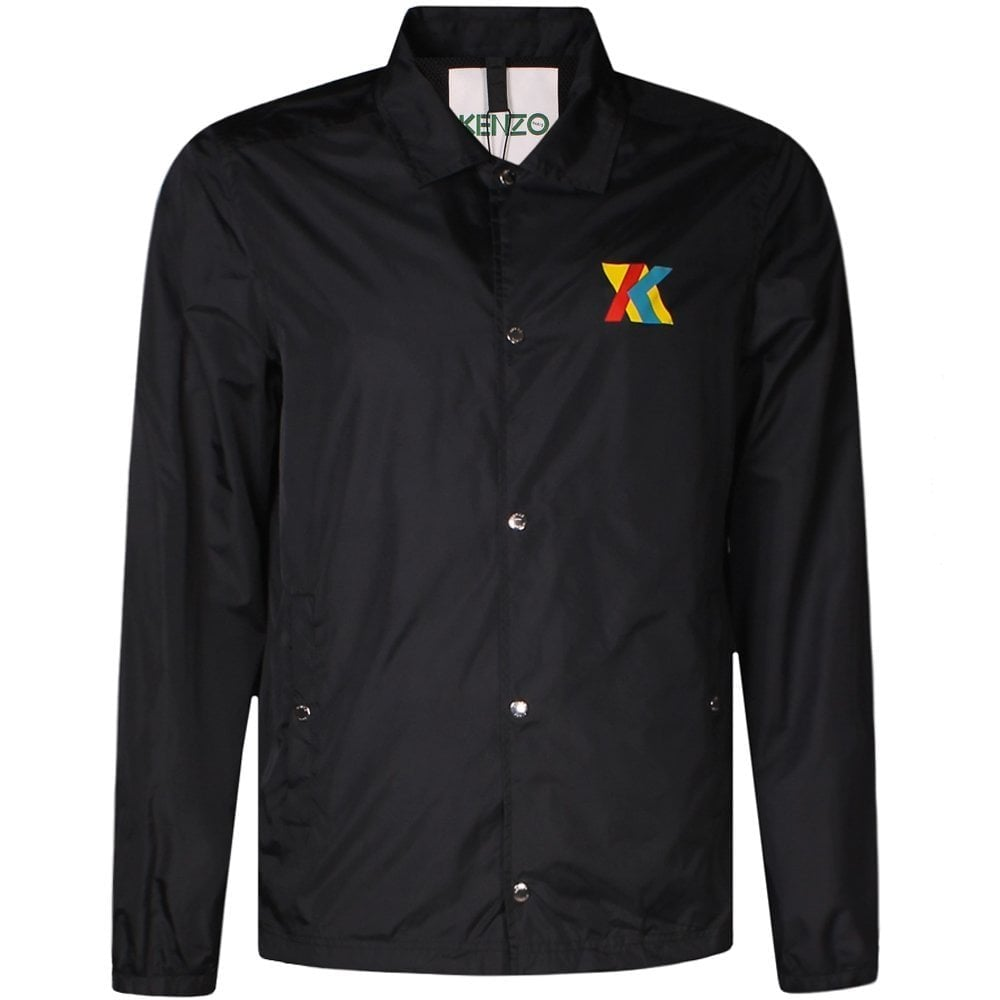 Kenzo Black Multi-Colour Logo Print Coach Jacket Colour: BLACK, Size: EXTRA LARGE