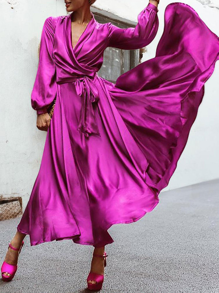 Milanoo Long Sleeves Maxi Dresses Shawl Collar Floor Length Wrap Dress
