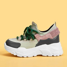 Lace Up Decor Color Block Chunky Sneakers
