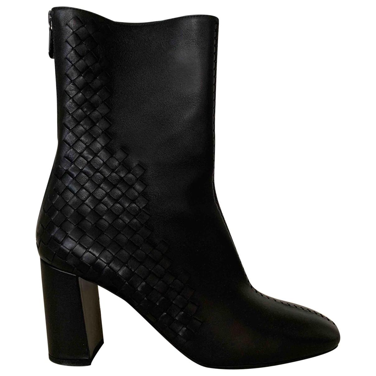 Bottega Veneta \N Black Leather Ankle boots for Women 40 EU