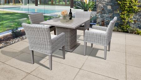 Coast Collection COAST-SQUARE-KIT-4DCC-WHITE Patio Dining Set with 1 Table   4 Arm Chairs - Beige and White