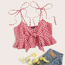 Tie Shoulder and Front Buffalo Plaid Ruffle Hem Top
