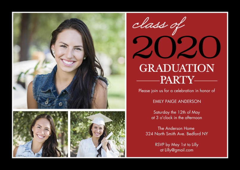2020 Graduation Invitations Flat Matte Photo Paper Cards with Envelopes, 5x7, Card & Stationery -Graduation Invite Stack 2020 by Tumbalina