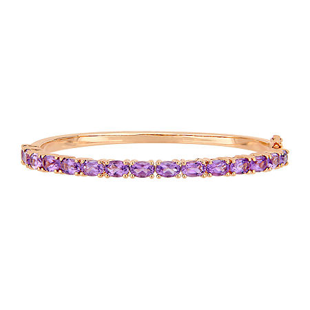 Genuine Purple Amethyst 18K Rose Gold Over Silver Bangle Bracelet, One Size , No Color Family