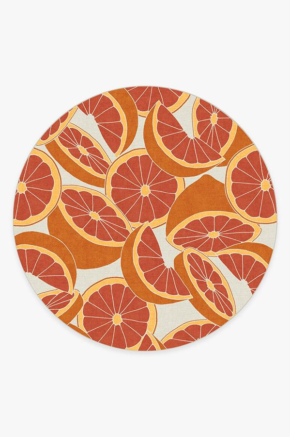 Washable Rug Cover & Pad   Citrus Blood Orange Rug   Stain-Resistant   Ruggable   8' Round